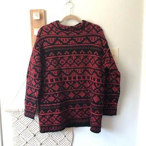 J. Jill Red Black Wool Blend Holiday Sweater